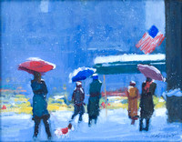 """Colorful Umbrellas, UES New York"" 10h"" x 14""w,  Price: $1400"