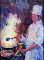 Haber-Flambe, Lyon France-Oil on Board-12 x 9