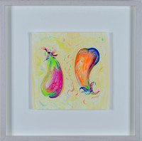 Bragg-Dancing Eggplants-Mixed Media-10 x 10